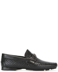 schwarze Leder Mokassins von Versace