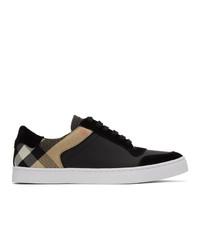 schwarze Leder niedrige Sneakers mit Karomuster von Burberry