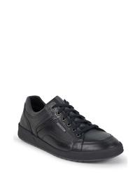 schwarze Leder niedrige Sneakers