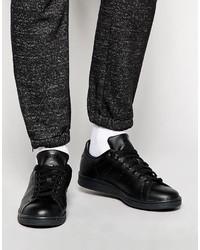 schwarze Leder niedrige Sneakers von adidas