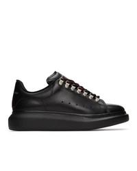 schwarze Leder niedrige Sneakers von Alexander McQueen