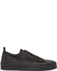 schwarze Leder niedrige Sneakers von Ann Demeulemeester