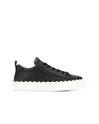 schwarze Leder niedrige Sneakers von Chloé