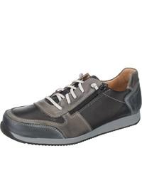 schwarze Leder niedrige Sneakers von Double You