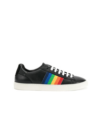 schwarze Leder niedrige Sneakers von Dsquared2