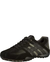 schwarze Leder niedrige Sneakers von Geox