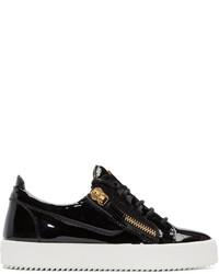 Schwarze Leder Niedrige Sneakers von Giuseppe Zanotti