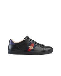 schwarze Leder niedrige Sneakers von Gucci