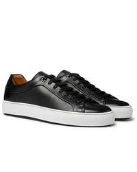 schwarze Leder niedrige Sneakers von Hugo Boss