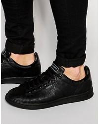 Schwarze Leder Niedrige Sneakers von Jack and Jones