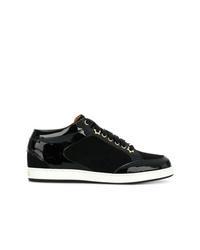 schwarze Leder niedrige Sneakers von Jimmy Choo