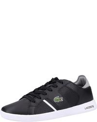 schwarze Leder niedrige Sneakers von Lacoste