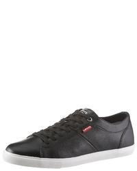 schwarze Leder niedrige Sneakers von Levi's
