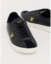 schwarze Leder niedrige Sneakers von Lyle & Scott