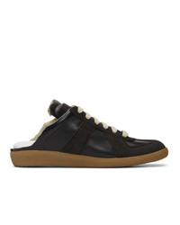 schwarze Leder niedrige Sneakers von Maison Margiela