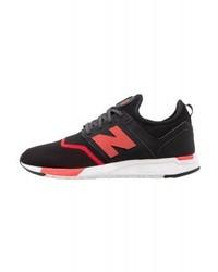 schwarze Leder niedrige Sneakers von New Balance