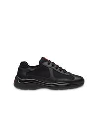 schwarze Leder niedrige Sneakers von Prada