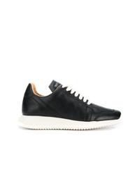 schwarze Leder niedrige Sneakers von Rick Owens