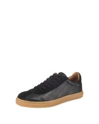 schwarze Leder niedrige Sneakers von Selected Homme
