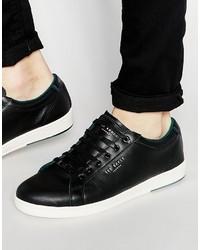 schwarze Leder niedrige Sneakers von Ted Baker