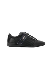 schwarze Leder niedrige Sneakers von Versace Collection
