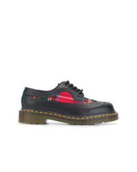 schwarze Leder Oxford Schuhe mit Schottenmuster von Comme Des Garcons Comme Des Garcons