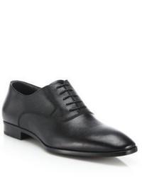 Schwarze Leder Oxford Schuhe von Hugo Boss