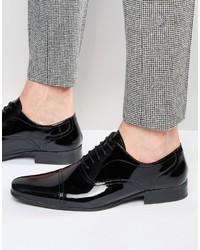 Schwarze Leder Oxford Schuhe