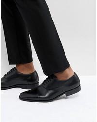 schwarze Leder Oxford Schuhe von Pier One