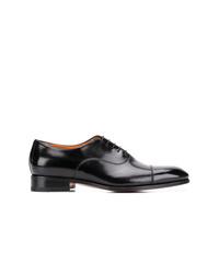 schwarze Leder Oxford Schuhe von Santoni