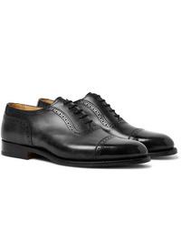 schwarze Leder Oxford Schuhe von Tricker's