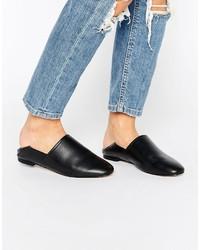 schwarze Leder Pantoletten von Aldo