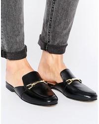 schwarze Leder Pantoletten von Asos