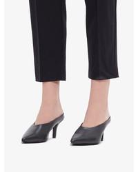 schwarze Leder Pantoletten von Bianco