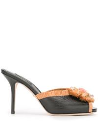 schwarze Leder Pantoletten von Dolce & Gabbana