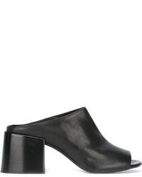 schwarze Leder Pantoletten von MM6 MAISON MARGIELA