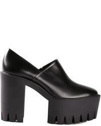 schwarze Leder plateau Slippers