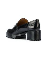 schwarze Leder plateau Slippers von Nicole Saldaña