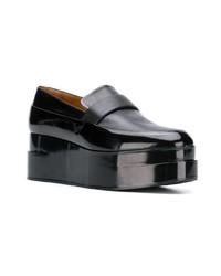 schwarze Leder plateau Slippers von Clergerie