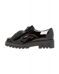 schwarze Leder plateau Slippers von Scapa
