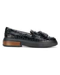 schwarze Leder plateau Slippers von Tod's