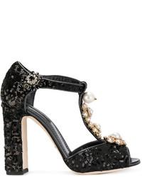schwarze Leder Pumps mit Blumenmuster von Dolce & Gabbana