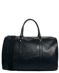 schwarze Leder Reisetasche von Asos