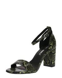 schwarze Leder Sandaletten mit Schlangenmuster von Vero Moda