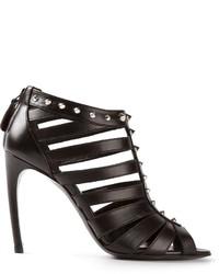 schwarze Leder Sandaletten von Alexander McQueen