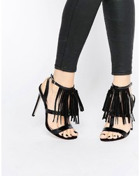 Schwarze Leder Sandaletten von Asos
