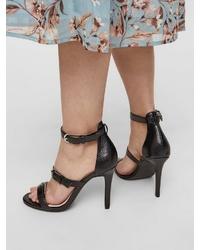 schwarze Leder Sandaletten von Bianco