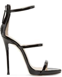 Schwarze Leder Sandaletten von Giuseppe Zanotti