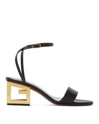 schwarze Leder Sandaletten von Givenchy