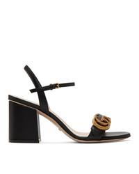 schwarze Leder Sandaletten von Gucci